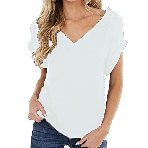 PRJN Camiseta de Manga Corta para Mujer con Cuello en V Camiseta básica de Verano Tops para Mujer Camisas Sueltas Informales sólidas Camiseta para Mujer Camisetas de Manga Corta Camisetas