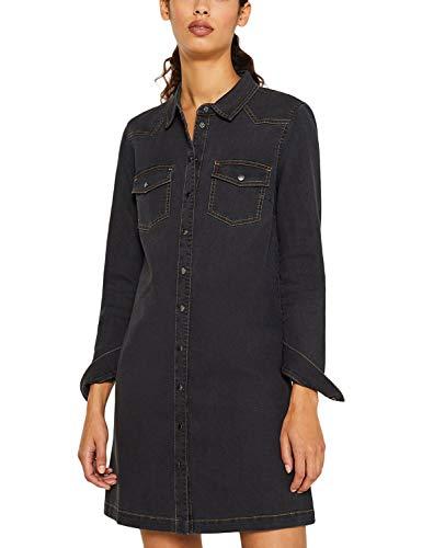 ESPRIT Damen Kontrastnähte Denim Kleid Gr. Small, 921 Grau Dark Washed