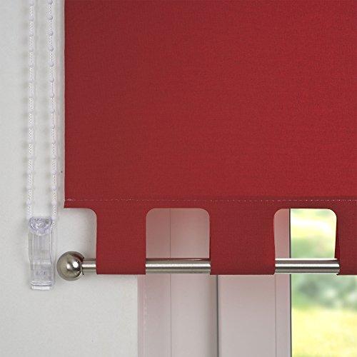 JalousieCrew Kettenzugrollo mit Volant Seitenzug Rollo rot - 60-240 cm Länge 180 cm Blickdicht Blickschutz Tür Fenster (230 x 180 cm)