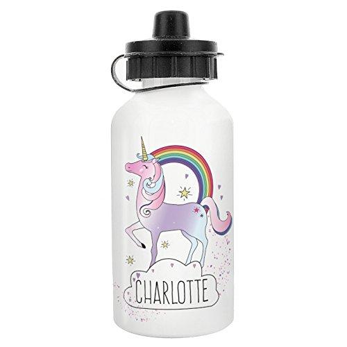Botella de agua personalizable para niños, diseño de unicornio, para bebidas, con nombre de vuelta a la escuela
