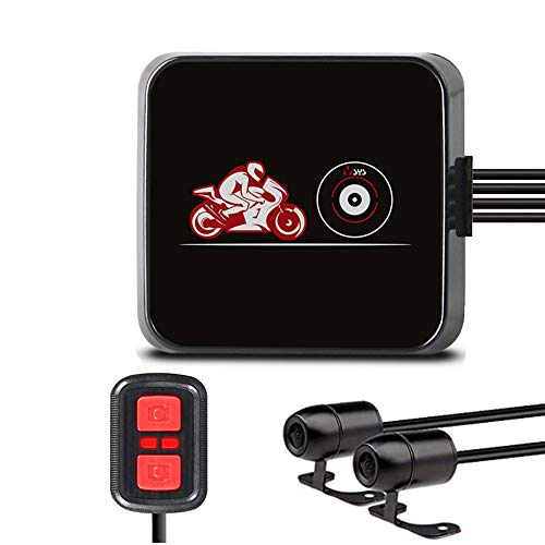 VSYSTO Motocicleta Dash CAM Cámara de la Motocicleta Lente Dual 1080P Cámara Delantera y Trasera 130 ° Gran Angular Cámara Deportiva a Prueba de Agua WiFi