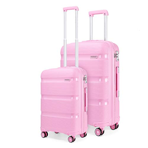 Kono Set of 2 Luggage Bags Hard Shell PP Carry on 20'' Cabin Trolley Case +Large Lightweight Travel 28'' Check in Suitcases with 4 Wheels (Pink)