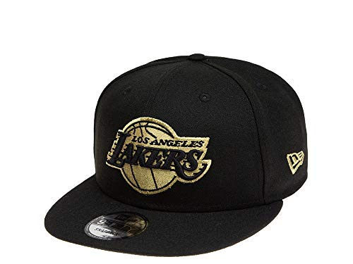 New Era Gorra de baloncesto de Los Angeles Lakers de la NBA en negro, tamaño ajustable