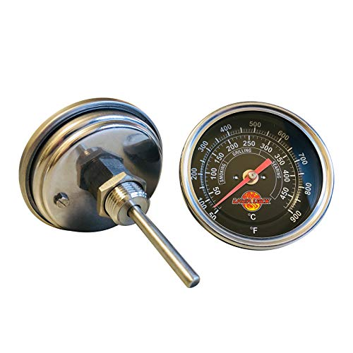 LavaLock BBQ Grill Thermometer 50F-900F Hochtemperaturbereich Heavy Duty Premium Quality Raucher Thermo 3 in. Schwarzes Gesicht schwarz