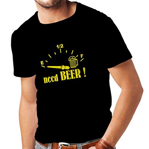 lepni.me Camisetas Hombre ¡Necesito más Cerveza! Divertido Regalo, Bebida - Bar - Lemas Fiesta (Large Negro Amarillo)