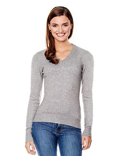 Vincenzo Boretti Damen Pullover V-Ausschnitt V-Neck modern elegant Chick edel weich Strick-Pullover grau XL