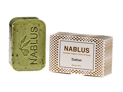 Nablus Soap natürliche Olivenölseife, Sorte: Salbei, handgemacht und palmölfrei, 100g