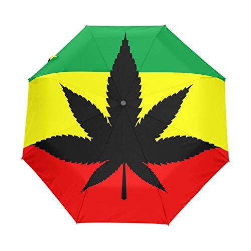 Paraguas plegable Hunihuni con hojas de marihuana, resistente al viento, impermeable, protección contra rayos UV, paraguas
