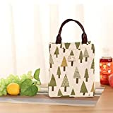 Satyam Kraft 1 Pcs Tree Print Portable Insulated Jute Lunch Bags, Canvas Thermal