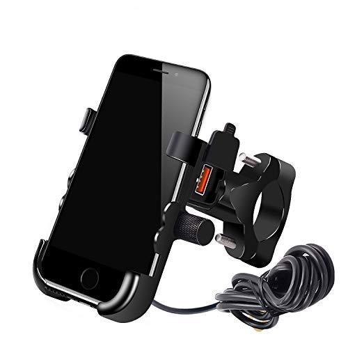 YGL Impermeable Titular del Teléfono de la Motocicleta con Cargador USB QC 3.0 Soporte para Teléfono de Aluminio para iPhone 8/8P/X/XR/XS, Samsung S7/S8/S9/S9+, Huawei