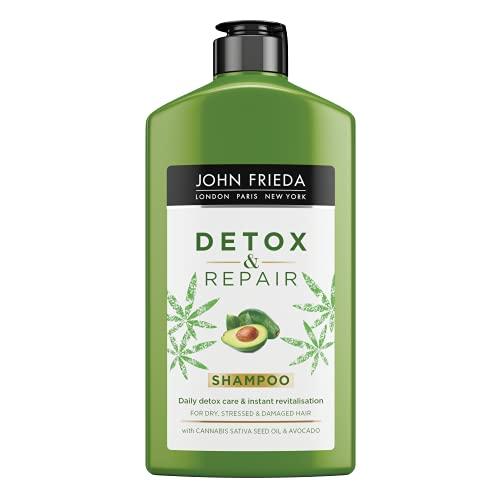 John Frieda Detox & Repair Shampoing purifiant et réparateur pour cheveux secs, stressés et abîmés à l'huile d'avocat et au thé vert, 250 ml