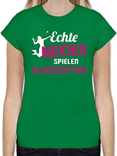 Sonstige Sportarten - Echte Mädchen Spielen Badminton - L - Grün - Badminton Set - L191 - Tailliertes Tshirt für Damen und Frauen T-Shirt