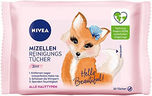 NIVEA 3in1 Hey Beautiful! Mizellen Reinigungstücher (25 Stück), sanfte Gesichtsreinigungstücher mit Vitamin E, Abschminktücher entfernen Make-Up & wasserfeste Mascara
