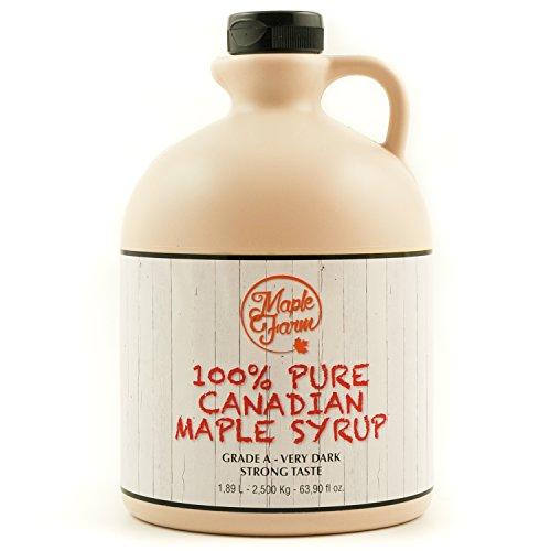MapleFarm - Puro sciroppo d'acero Canadese. Grado A, Very Dark - 1,89 Litri - Pure maple syrup - sciroppo per pancake - sciroppo per waffle - succo acero - sciroppo di acero
