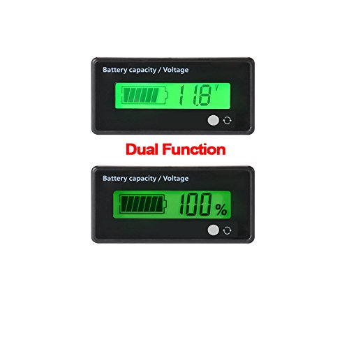 LCD Digital Battery Capacity Monitor,DC 8-63V Lithium Battery Capacity Tester Voltage Meter Monitor,12V/24V/36V/48V LCD Lead Acid Battery Capacity Meter Voltmeter for Vehicle Battery
