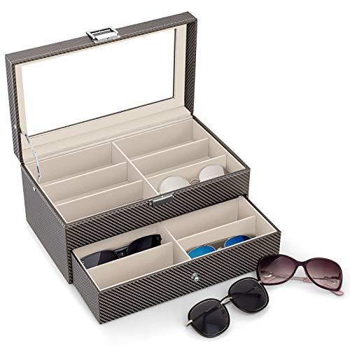 Carbon Fiber Sunglasses Organizer for Women Men, Eyeglasses Collector Eyewear Display Case Storage Box,Sunglasses Jewelry Collection Case, Sunglass Glasses Storage