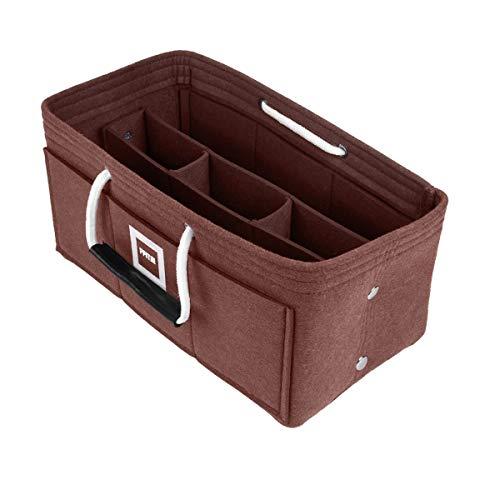 FFITIN Organizador de Bolso | Organizador Bolsos de Mujer | Fieltro | con 2 Asas | Bag in Bag | Inserto (Chocolate Brown, XL - X - Large (33 x 16 x 16 cm))