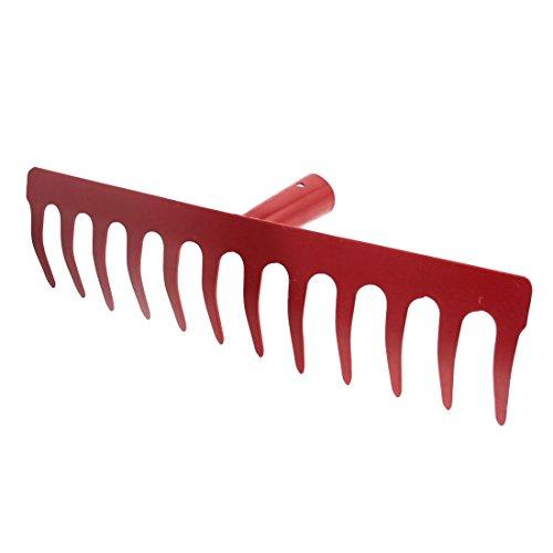 AYHF-Metal Râteau à main 12 dents Rouge