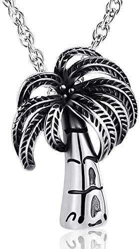 Keepsake Pendant Beach Coconut Tree Cremation Ashes Jewelry Stainless Steel Tree Box Pendant Souvenir Funeral Commemorative Gift