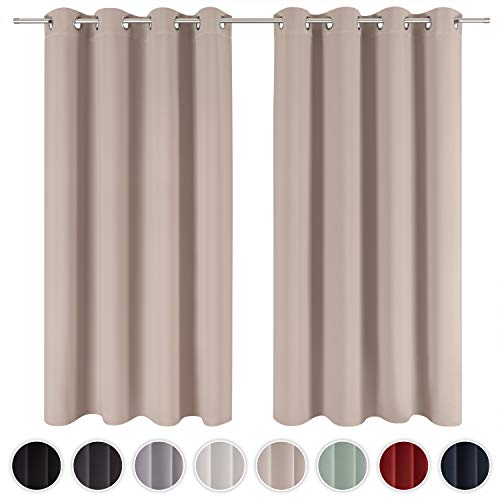 Blumtal 2er-Set Gardinen Verdunkelungsvorhang Blickdicht - Eleganter Vorhang mit Ösen für Schlafzimmer, 175 x 140 cm, Taupe