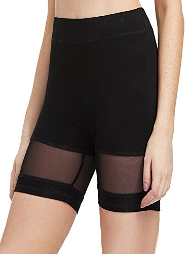 SweatyRocks Women's Mesh Panel Biker Legging Shorts Yoga Gym Workout Shorts (Small, Black)
