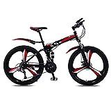 OFFA Bicicleta Plegable para Hombre, Mujer, Bicicleta De Montaña 24/26 Pulgadas, 21 Bicicletas De Crucero De Suspensión Total De Velocidad Variable, Asiento De Bicicleta De Montaña, Ciclismo