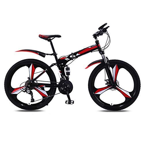 OFFA Bicicleta De Montaña Exterior, 24/26 Pulgadas De 21 Velocidades De 21 Velocidades MTB 3 Ruedas De Radio Bicicleta De Montaña Plegable, Marco De Acero Al Carbono, Freno De Doble Disco