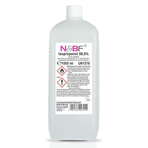 N&BF - Detergente per unghie, 1000 ml, detergente per unghie in gel, detergente per unghie, 1 litro, 99% alcool isopropanolo isopropilico puro e cosmetico di qualità professionale