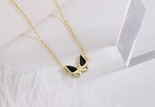 YNING S999 Collar de Mariposa de Epoxi de Plata Esterlina/Serie Oscura Premium/Longitud de Cadena Ajustable/Regalos Adecuados para Niñas, Novias, Damas y Esposas