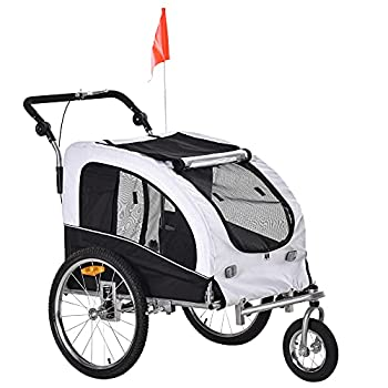 Aosom Dog Bike Trailer 2-in-1 Pet Stroller with Canopy and Storage Pockets White