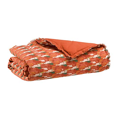Vivaraise - Plaid Tahis – 135x200 cm – Couverture d'appoint Chaude, jeté de canapé Doux – Tissu en Lin et Coton – Finition à Franges – Motif imprimé