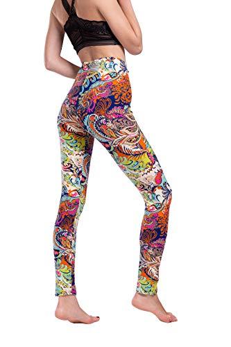 Yiwbeij Leggings for Women, Ankle Length Mid Waist Soft Flower Active Yoga Leggings Beige