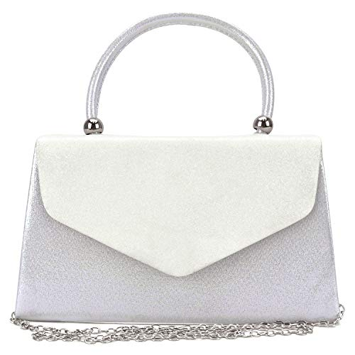 Dasein Women's Evening Bags Party Clutches Wedding Purses Cocktail Prom Handbags with Frosted Glittering (White)