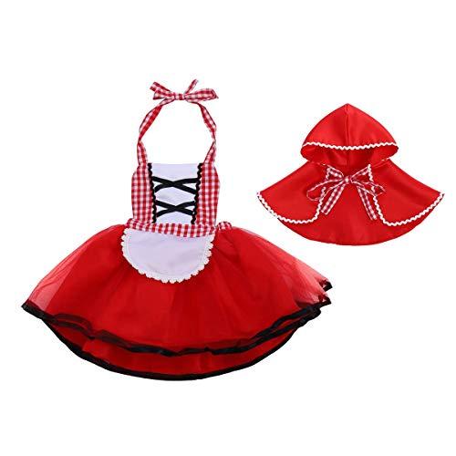 IWEMEK Disfraz de Caperucita Roja Vestido de Princesa tutú con Capa para Niña Bebe Infantil Disfraces de Carnaval Halloween Fiesta Cumpleaños Navidad Trajes Cosplay Fancy Dress Up Rojo 12-18 Meses