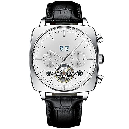 WNGJ Reloj Deportivo para Hombres, montañismo, Ciclismo, Reloj de dial Grande, Negro, Impermeable 50m Reloj Militar Mecánico Dual Pantalla de Reloj de Pantalla impermeabl Silver