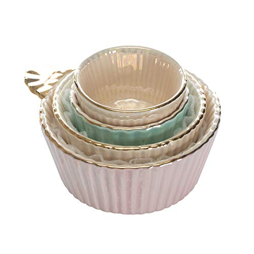 Fluted Handled Iridescent Gold Tone Cup Glossy Ceramic Measuring Cup Set of 4