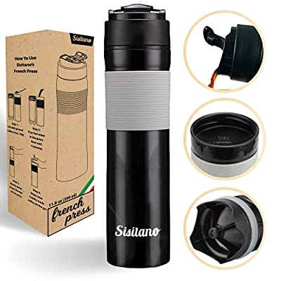 Sisitano 2in1 Travel French Press Coffee Maker, Portable 11.8 oz Tumbler Coffee French Press for Ground Coffee & Tea Leaves; Iced Coffee, Cold Brew Tea, Coffee Mug for Trips, Camping, Work & School