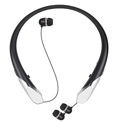 Bluetooth Retractable Headphones, Wireless Earbuds Neckband Headset Noise Cancelling Stereo Earphones with Mic by LINYY (15 Hours Play Time, 2020 Upgrade) (Black)