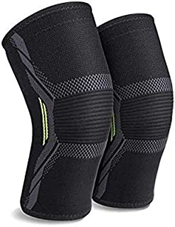 2 Pack Knee Brace Knee Support Sleeves of 3D Flexible Breathable Knitting and Double Anti-Slip Silicone Gel Sweat Absorbin...