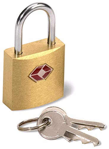Lewis N. Clark Mini Brass Square TSA Lock + Padlock for Luggage, Suitcase, Carry On, Backpack,...