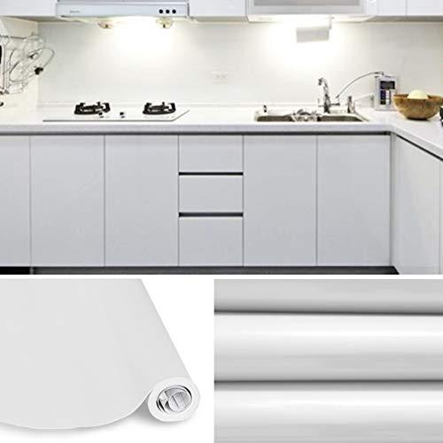 KINLO Papel de Cocina Gris 60x500cm de PVC Adhesivo para Armario Cocina Papel Adhesivo para Muebles Papel Impermeable Autoadhesivo para Armario de Cocina Papel Decorativo con Brillo