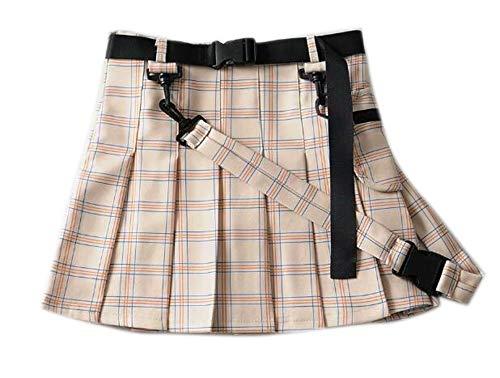 Falda Escolar Corta de Tenis de Patinador Plisada para Mujer, Falda a Cuadros con Estampado a Cuadros de tartán Mini Falda roja Plisada con cinturón Desmontable