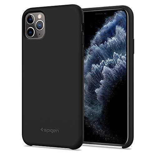 Spigen Silicone Fit Funda iPhone 11 Pro MAX con Suave y Antideslizante, Funda Compatible con Apple iPhone XI Pro MAX (6.5') 2019 - Black