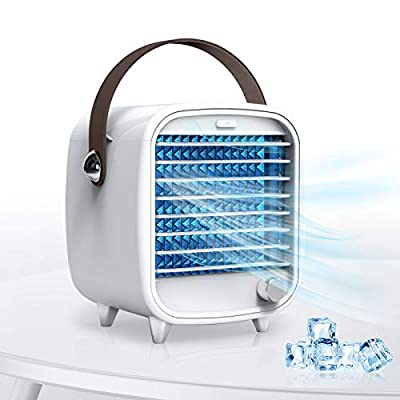SmartDevil Portable Air Conditioner Fan, USB Small Desk Air Cooler Fan with Night Light, Adjustable Wind Direction Personal Cooling Fan, Built-in Ice Tray, for Home, Office, White