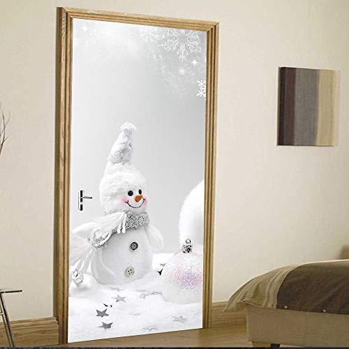 Pupazzo di Neve di Natale Adesivo da Parete Creativo personalità Porta in Legno Decorazione della casa Adesivo 3D Tridimensionale per Porta di Natale 30x78inx2pcs
