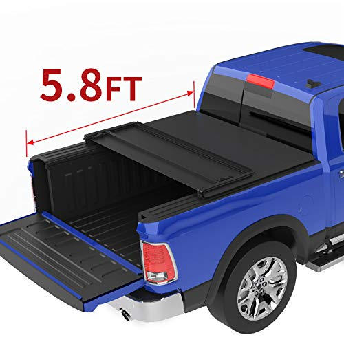 oEdRo Tri-Fold Truck Bed Tonneau Cover Compatible with 2009-2020 Dodge Ram 1500 Without Ram Box, Fleetside, 5.8 Feet Bed