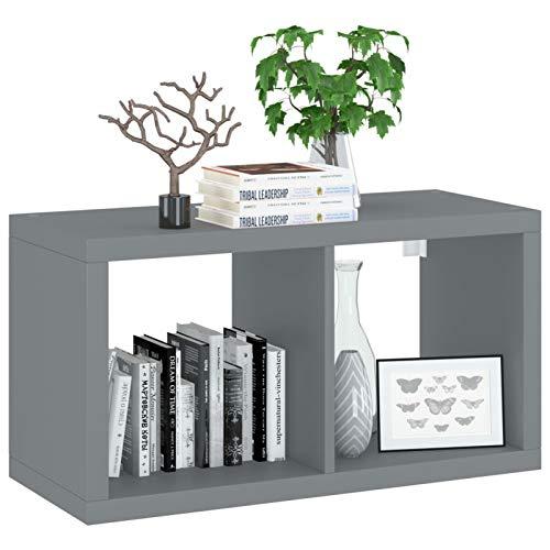 Irfora Mensola a Muro a Cubo, Mensole da Muro Design, Porta CD da Parete, Libreria da Parete,in MDF 69,5x29,5x37 cm Grigio