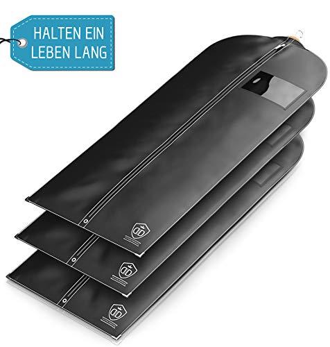 3 x Kleidersack Anzug - Kleidersäcke Halten EIN Leben Lang | 152 x 60 cm | Kleidersack Lang für Kleider - BIS ZU 56% Dickeres Material (125 GSM) | Atmungsaktiv & Wasserdicht | Reise Schutzhülle