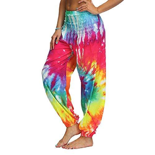 Pantalones de yoga para mujer, estilo informal, para yoga, correr, holgados, estilo hippy, para hacer yoga Color 3 S