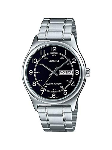 Casio MTP-V006D-1B2 Men\'s Stainless Steel Easy Reader Black Dial Day Date Analog Dress Watch